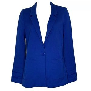 H &M Divided Blazer 4 One Button Unlined Blue